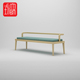 Modern solid wood cloth cushion living room long stool backrest bench