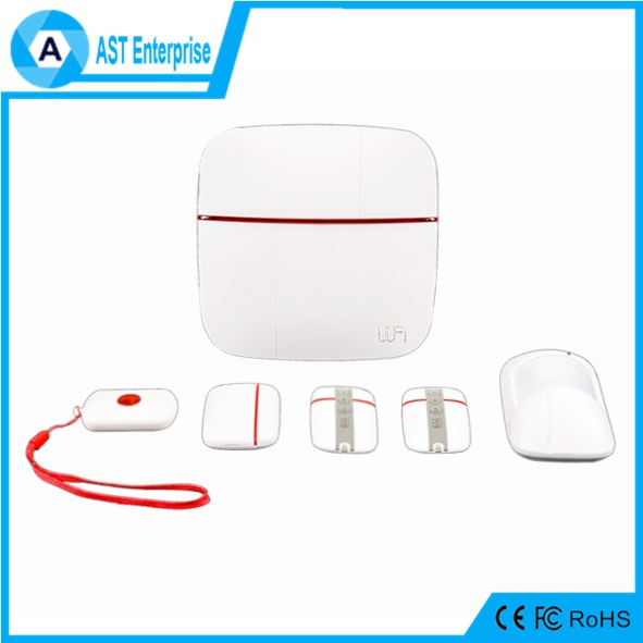 Scan QR code 3G WiFi GSM GPS smart wireless home alarm with touch SOS button, Android+IOS APP work with 100 sensors.