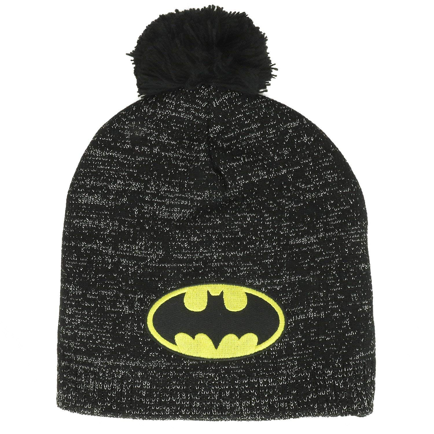 a0035c4e21dbf Armycrew Batman Logo Embroidered Patch Lurex Pom Accent Beanie