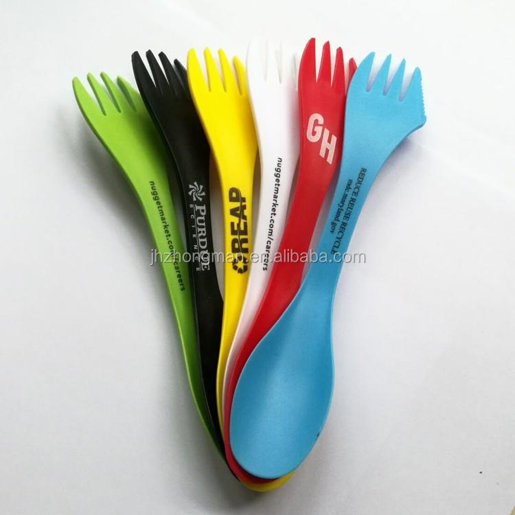 مخصص شعار الملونة شوكة بلاستيكية ملعقة الإبداعية متعددة الوظائف يرمى