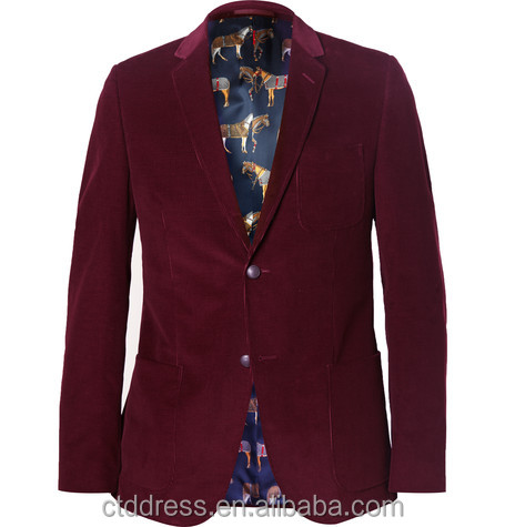 Bespoke wine notch lapel tailor made cashmere suit for men