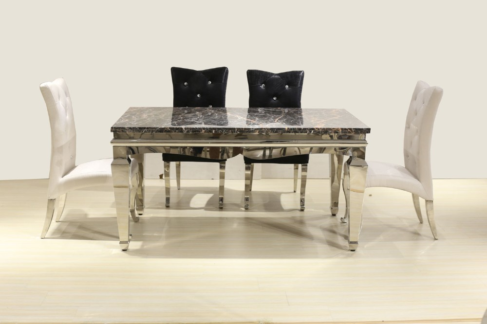 Modern European style marble top dinning table with stainless steel frame