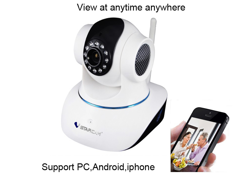 PnP P2P Support PC,Android,iphone Walkie Talkie IR Cut Wireless Dome IP Camera Nanny Cam