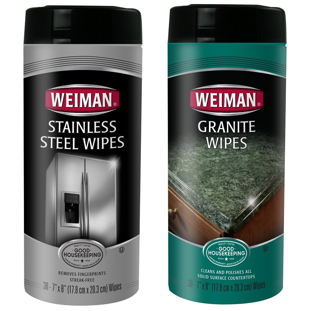 Kitchen Cleaning Kit - Weiman Stainless Steel Wipes, 30 count and Weiman Granite Wipes, 30 count