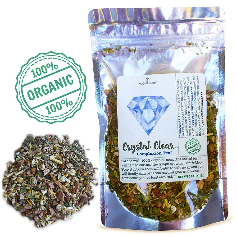 Modest Earth Crystal Clear Tea | 100% ORGANIC Herbal Acne Remedy | Liver & Skin Detox Aid | Natural Treatment Regimen | Glowing Skin Care Routine | OVER 2 WEEKS OF SERVINGS (2.83 OZ)