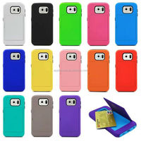 High Quality Hybrid PC Silicone Mobile Phone Back Case for Samsung galaxy6 with Card Slot , for Samsung S6 Cover Case
