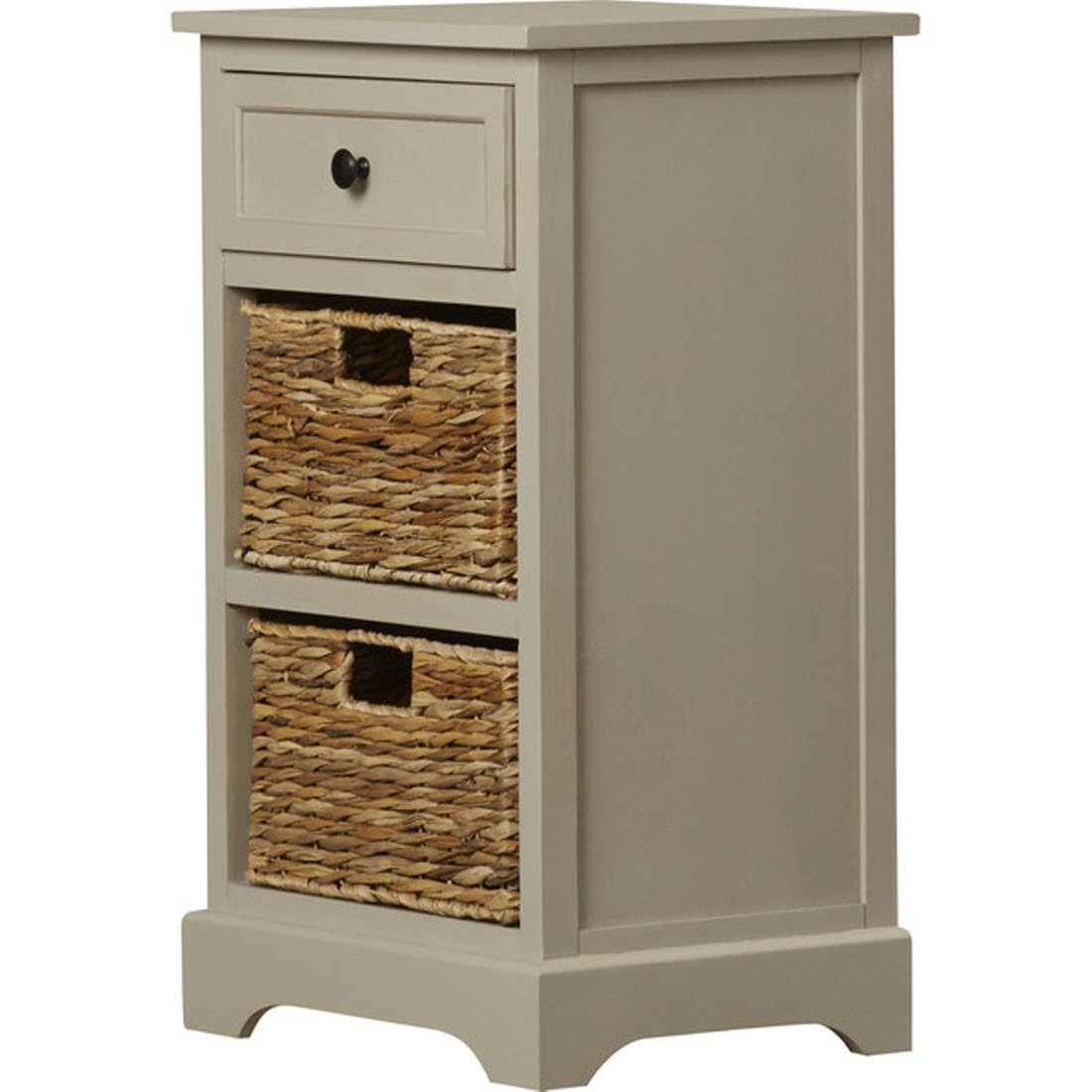 Nonatum Storage End Table- It Has 3 Drawers - Comes with Rattan Wicker Baskets - Rectangular Shape (Vintage Grey)
