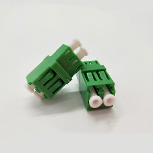 Passive Components FTTH LC / APC Fiber Optic Telecom Level Singlemode Green adapter With Flange