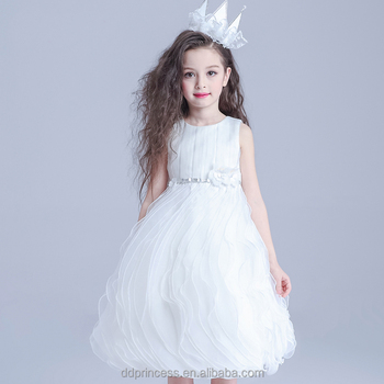 High Quality Girl Dress Of 9 Years Old White Sleeveless Formal Patterns For Girls