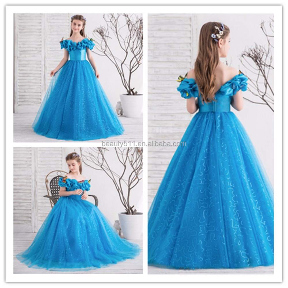 72dd57752a988 2018 Royal Blue Flower Girl Dresses For Wedding Cinderella Girls Dress  Princess Children Party Ball Gown First Communion Dress - Buy Flower Girl's  ...