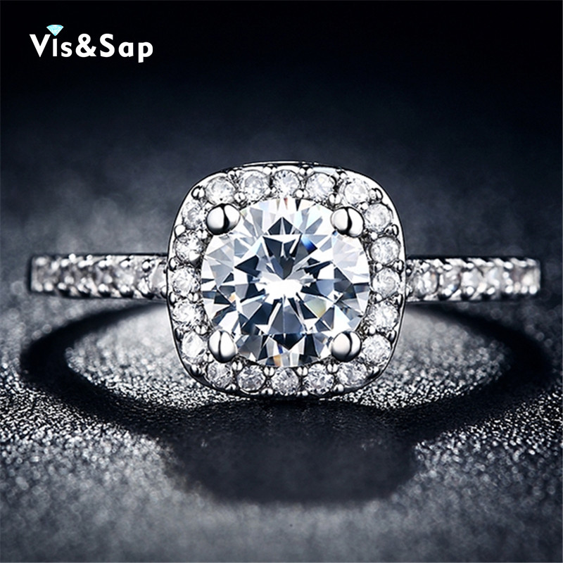 18k white gold plated rings Engagement bague cz diamond rings For Women Wedding fashion jewelry brand
