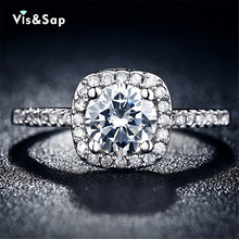 Hot sell rings brand design high quality silver plated ringsEngagement Rings cz diamond rings For Women Wedding ring VSR035