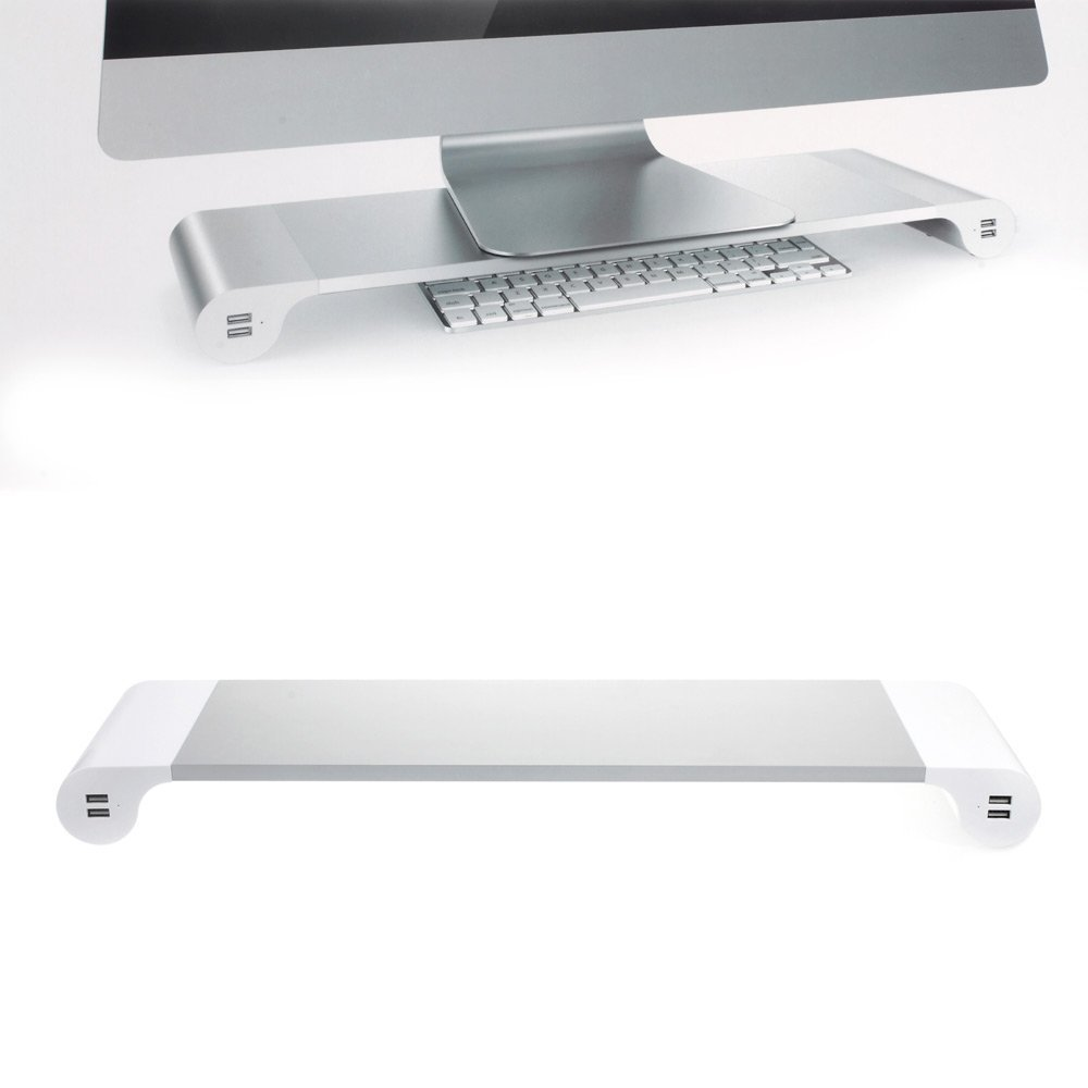Dulcii Monitor Stand, Space Bar Desk Organizer Monitor Riser Platform Shelf Stand with 4 USB Ports for PC, Laptop, iMac, MacBook