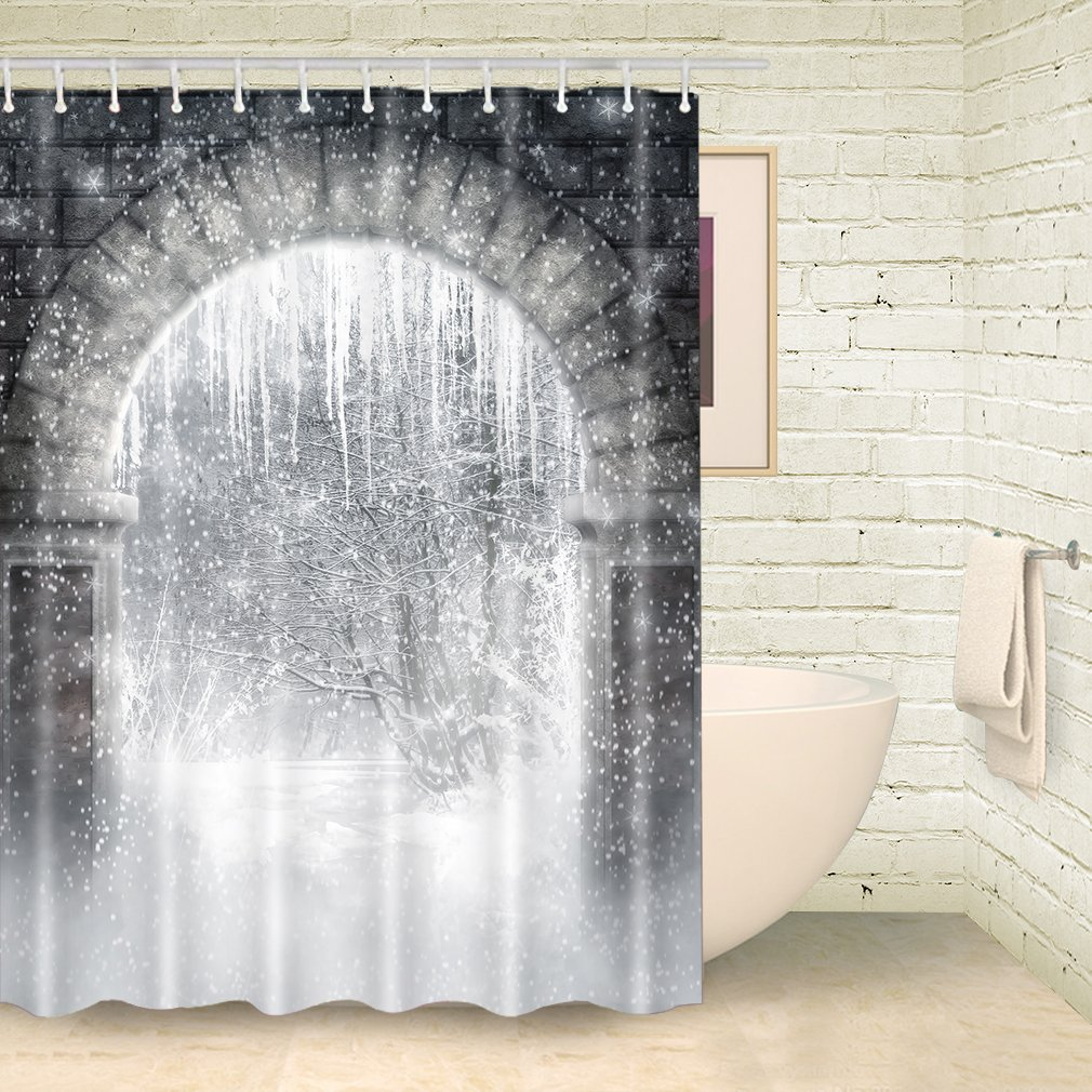 Get Quotations FOOG Shower Curatins Winter Icicle Snowflake Curtain White Stone Door Bath Curatin Christmas Waterproof