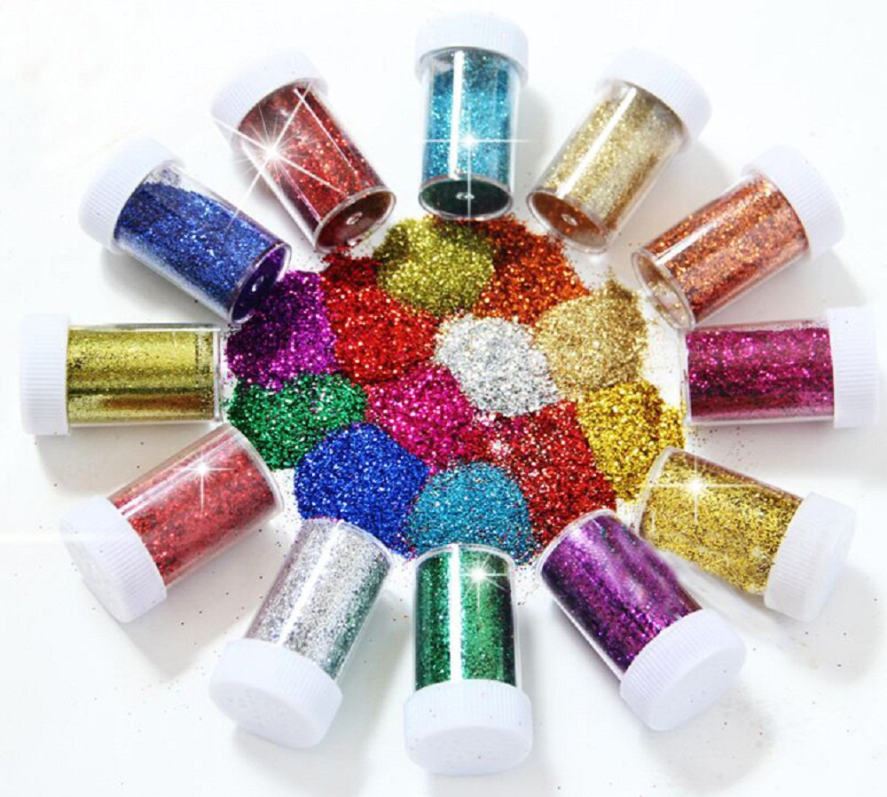 BTSD-home Arts and Crafts Glitter Shake Jars, Glitter Powder Sequins for Slime, Scrap-booking, Body, Face, Party Invitations, Holiday Crafts - Assorted colors (Set of 12)