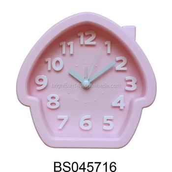 Pink House Shape Funny Alarm Desk Table Clock For Kids