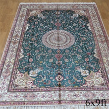 Blue persian pattern design hand knotted silk rug