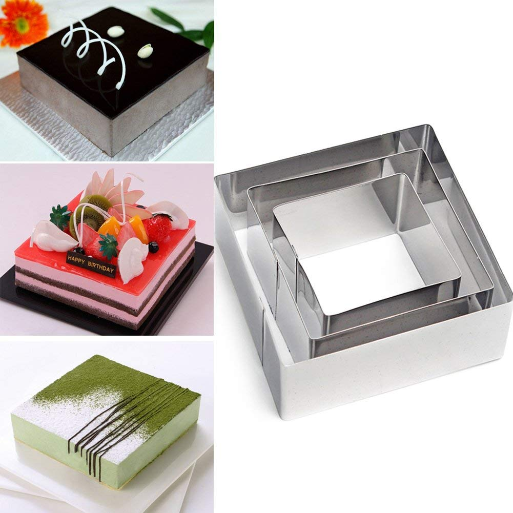 3pcs /set Square Stainless Steel Mousses Rings,Layering Cake Baking Mould,Pastry Dessert Cutter Molds(6/8/10cm4cm,Silver)