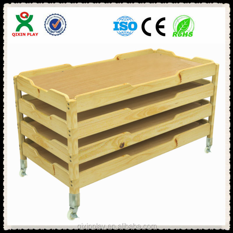 Cheap mobile kids bed furniture / portable solid wood bed / kids wooden beds wholesale (QX-197A)