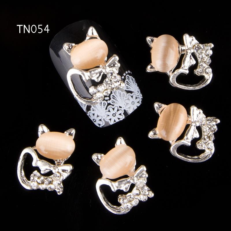 10pcs Glitter Kitty cat Rhinestones 3d Nail Art Decorations Alloy Nail Sticker Charms Jewelry for Nail