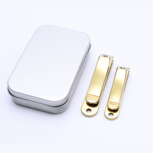 2018 Shiny Gold Plating Stainless Steel Ingrown Thick Wide Jaw Large and Small Nail Clippers Cutters Pair Set in Metal Box