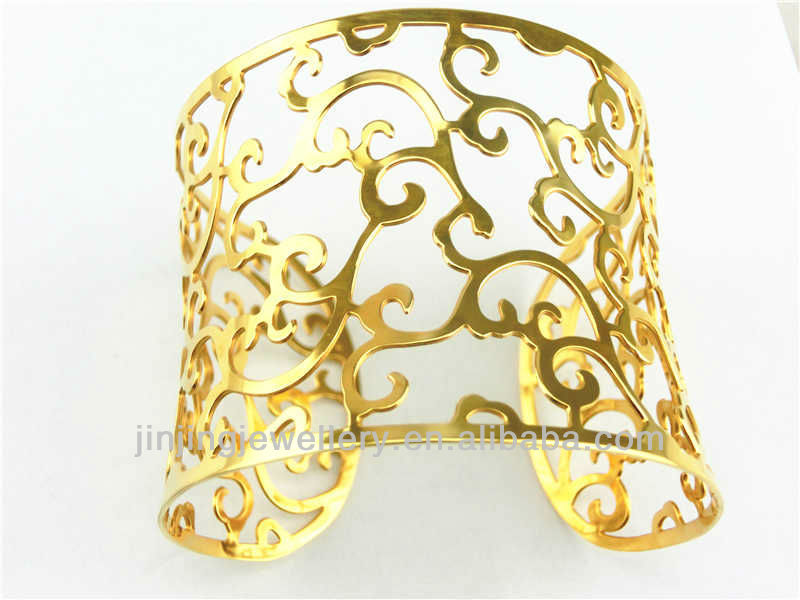 The Beautiful Design Gold Wide Hollow Bangles Design - Buy Latest ...