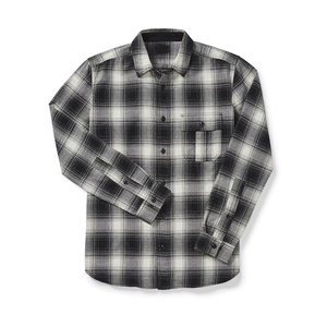Mens classic style gingham flannel shirt chest pocket new pattern shirt