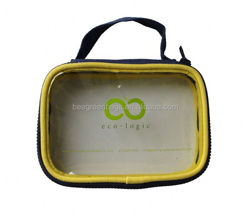 Budget Clear PVC Custom Makeup Bag with Carry Handle
