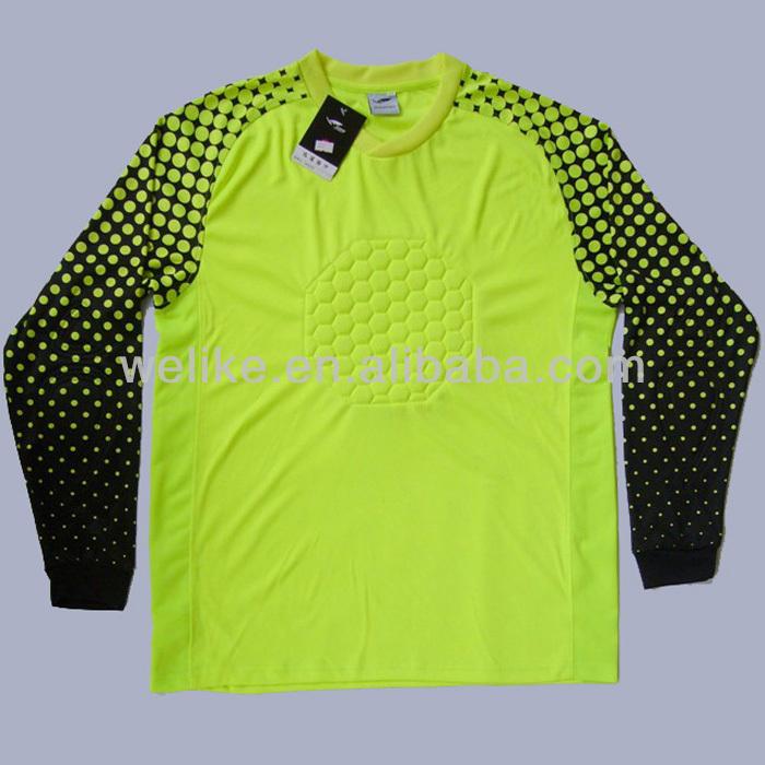 63c22a3acb4 Yellow soccer goalkeeper jersey cheap goalie t shirt plain football jersey  with pants