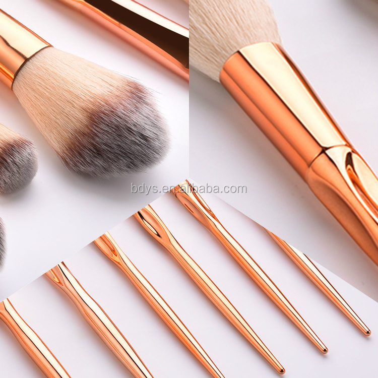 customized design marble 8 pieces makeup brush with cylinder