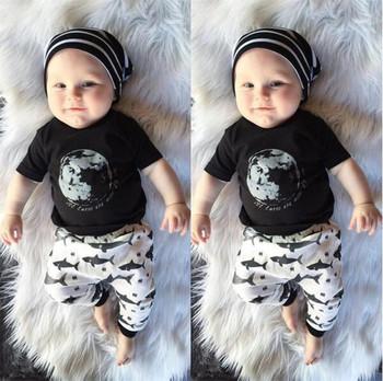 Amazon Hot Sale Baby 2 Piece Clothes Sets Fashion Kids