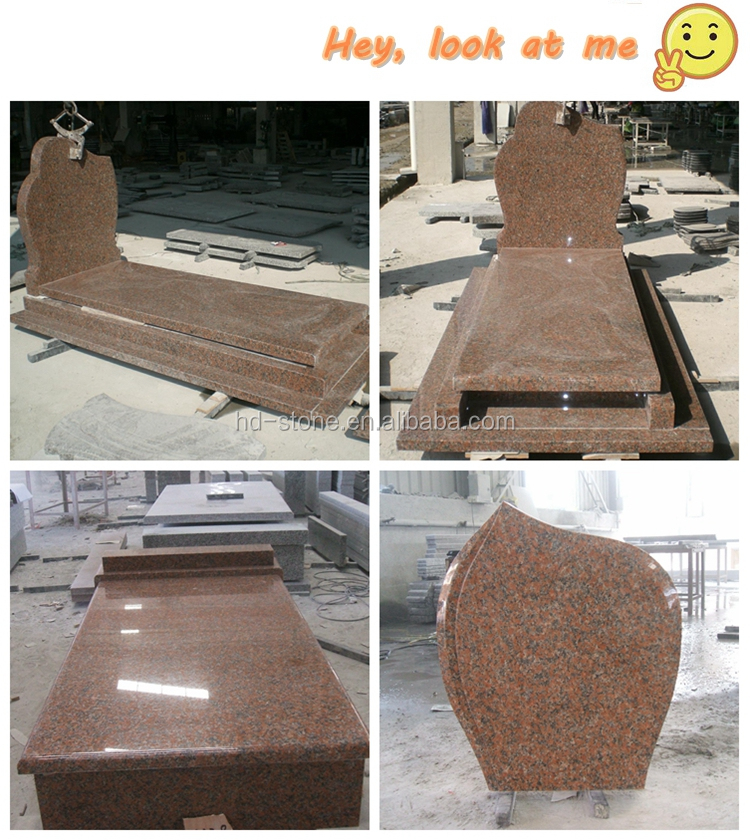 Chinese Cheap Granite Headstones G562 Maple Red Granite Tombstone for Poland