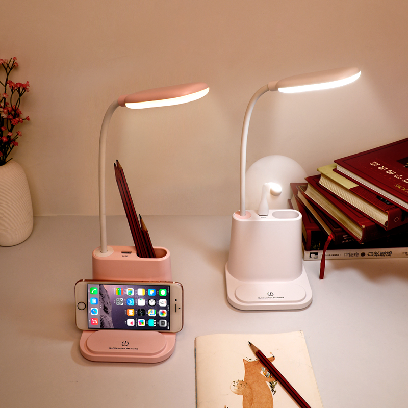 AGQ New Arrival Multifunctional LED 메트 vintage desk 표 Lamp 와 펜 container 및 Mobile Phone 홀더