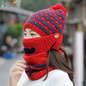 Female Korean Winter Outdoor Knitting Hat Beard Modelling Mask Neckerchief Cycling Ear Protector Two-Piece Hat And Scarf