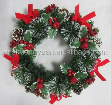 Elaborate artificail Christmas ball wreath with febric butterfly