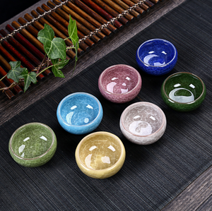 Chinese style ice crack colorful custom modern ceramic rainbow espresso cups