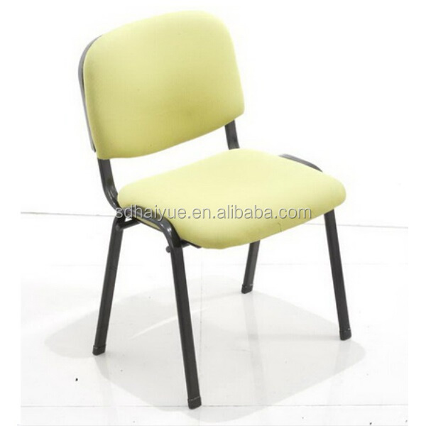 School Furniture Book Reading Fabric Cushion School Chairs With Black Metal  Tub Legs HY1030