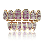 Body jewelry micro zircon gold plated hiphop teeth grillz