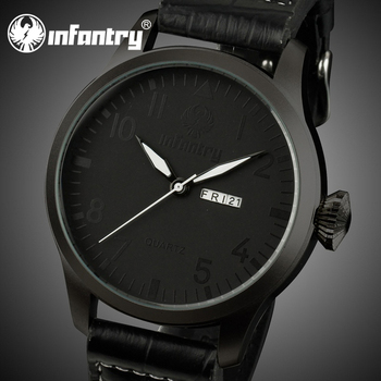 infantry army all black fashion leather men s date quartz wrist infantry army all black fashion leather men s date quartz wrist watch