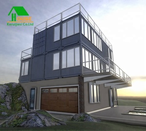 China cheap design prefab 2 stories shipping container house