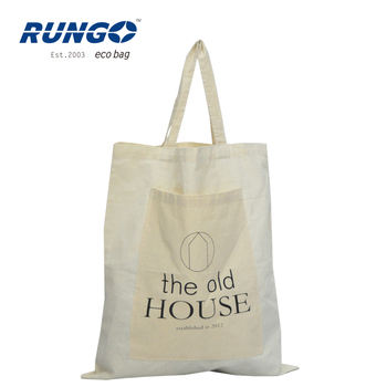 Personalized natural 100% cotton cloth bag with pocket