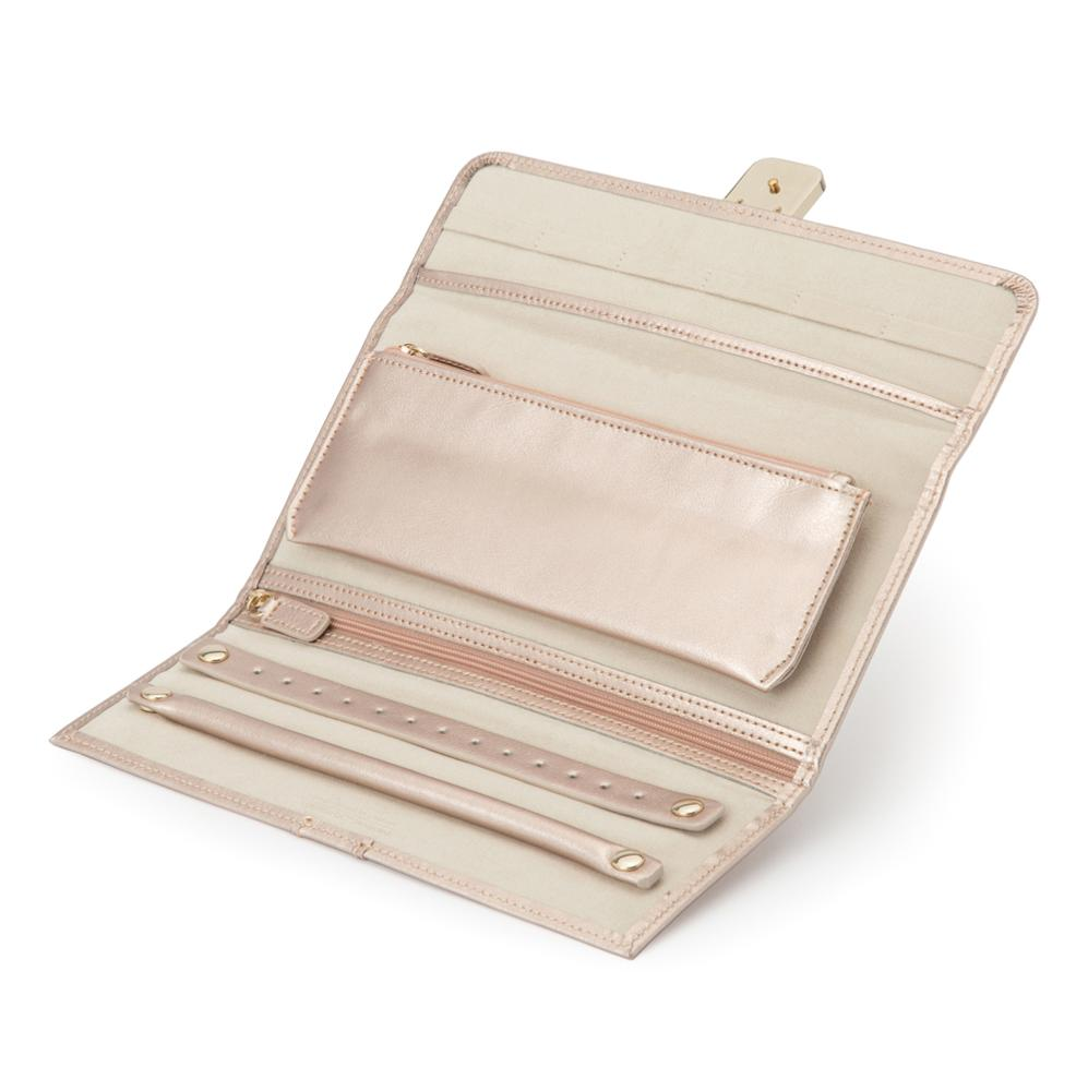 High quality custom leather travel jewelry roll organizer bag