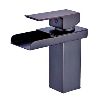 Modern ORB oil rubbed bronze black bathroom faucet waterfall spout delta basin faucet
