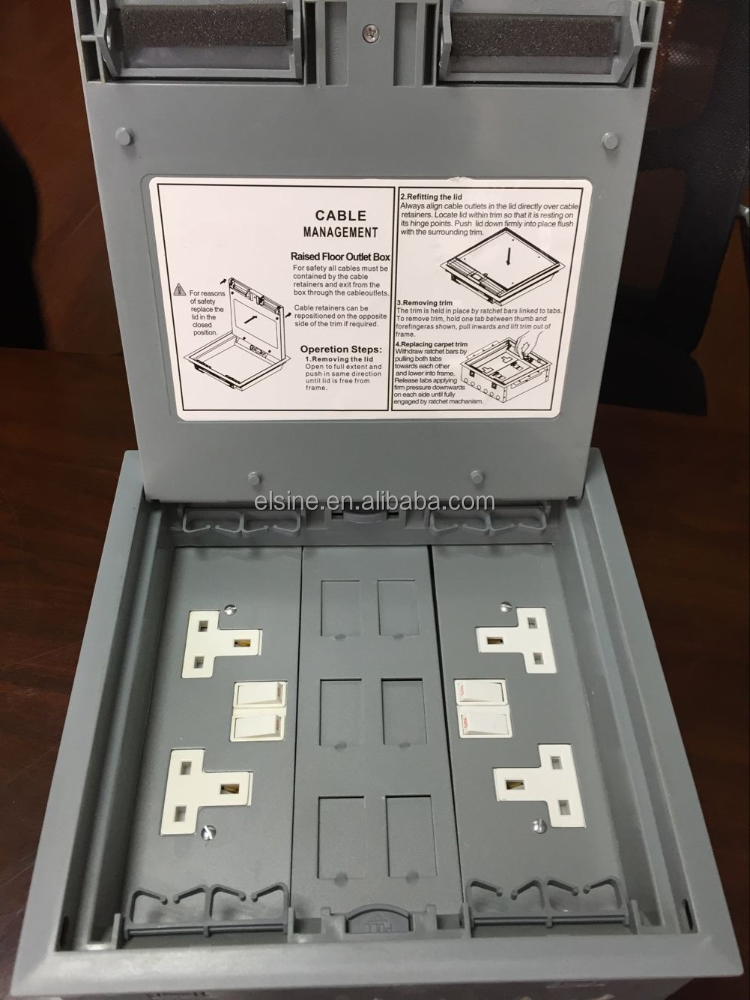 Floor outlet box carpet gurus floor for Floor electrical outlet