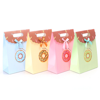 Various Color Die Cut Handle Bags With Bow Tie Rigid Candy Paper