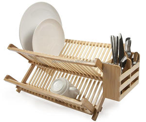 Foldable kitchen bamboo dish rack with utensil holder