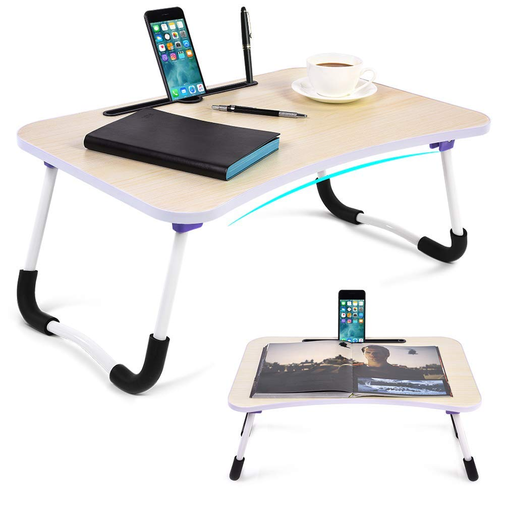 Portable Lap Desk with Tablet & Phone Slots, Foldable Bed Notebook Table with U Legs, Multifunctional Tray Table for Bed Sofa, Breakfast Serving/Reading/Camping Tray