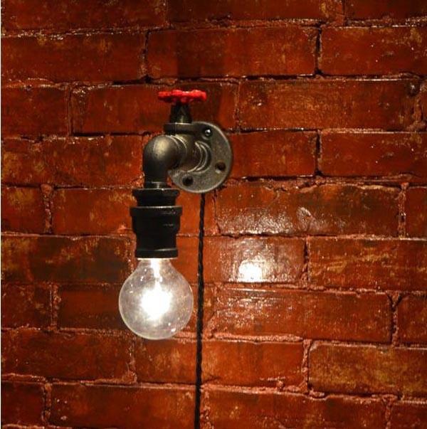 Loft industrial country vintage lustre water pipe edison wall sconce lamp bedroom houseware bathroom home decor lighting
