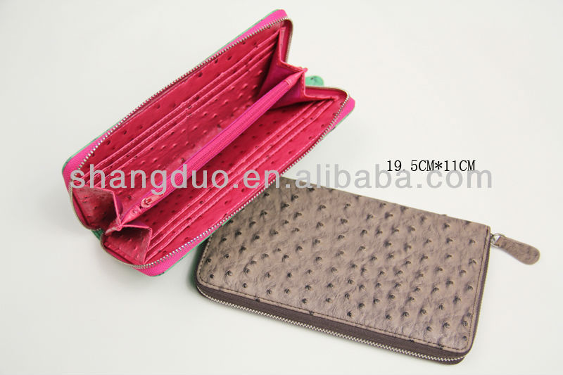 Embossed Ostrich Leather Clutch Wallet Woman Gifts