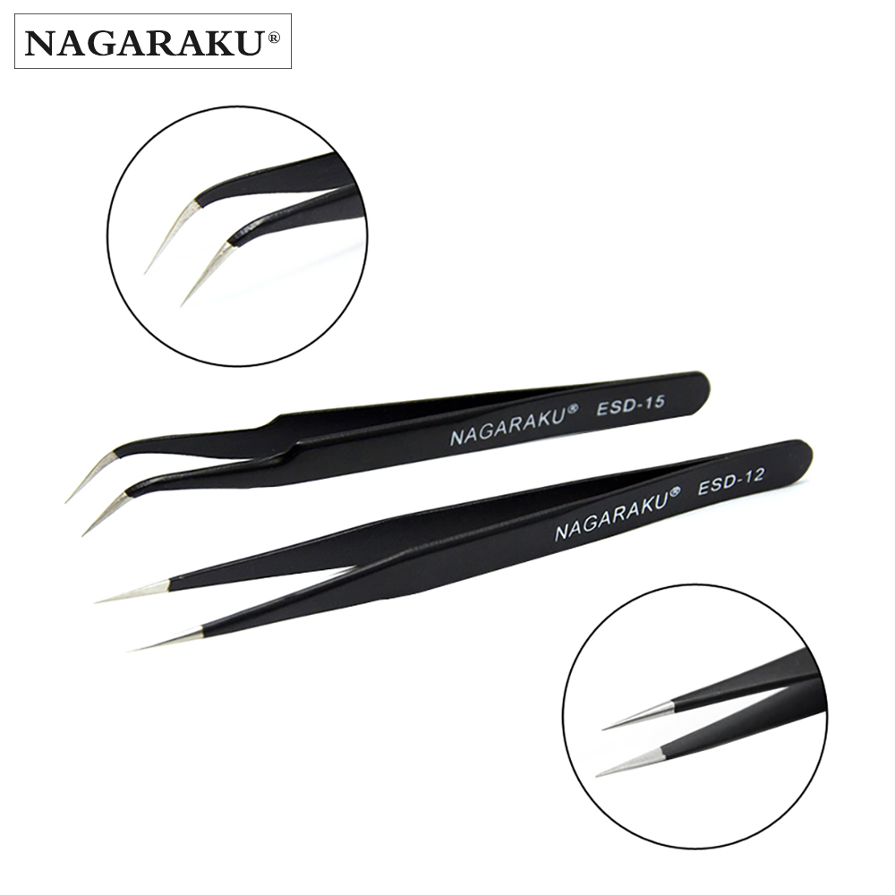 2pcs set straight and curl stainless lash tweezers eyelash extension tweezers eyebrow tweezers фото